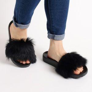 Ugg Black Royale Fuzzy Slides NEW in Box